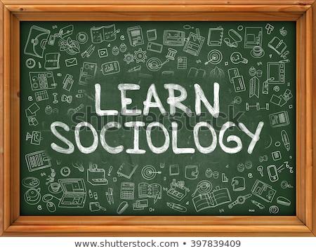 Imparare sociologia verde lavagna doodle Foto d'archivio © tashatuvango