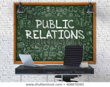 public relation   hand drawn on green chalkboard stock photo © tashatuvango
