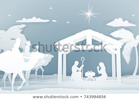 nativity christmas scene papercraft style stock photo © krisdog