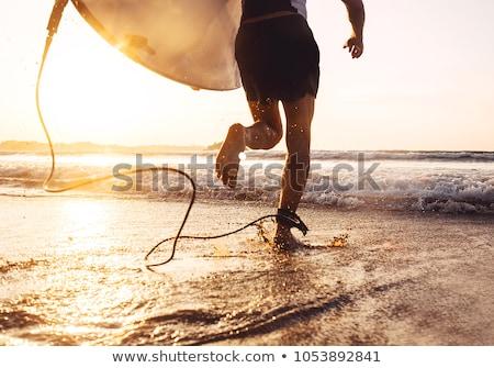 Férfi szörfdeszka csobbanás víz jókedv szabadság Stock fotó © IS2