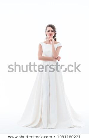 Nachdenklich Braut posiert traditionellen Hochzeitskleid isoliert Stock foto © LightFieldStudios