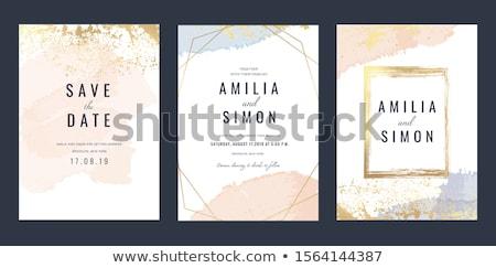 Güzel düğün davetiyesi suluboya stil vektör Stok fotoğraf © balasoiu
