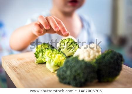 Kid Boy Board Veggies Stock photo © lenm