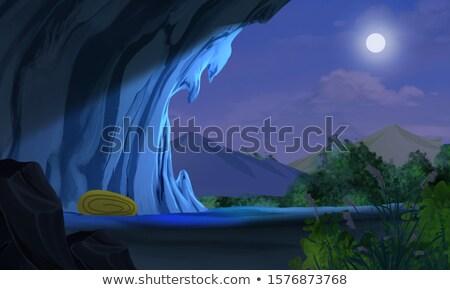 пещере ночь пейзаж иллюстрация свет луна Сток-фото © bluering