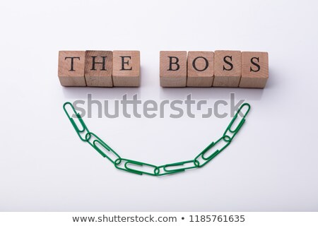 The Boss Text On Wooden Blocks Near Green Paperclip Chain Stock photo © AndreyPopov