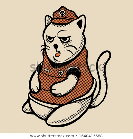 Karikatür öfkeli polis memuru kedi yavrusu bakıyor Stok fotoğraf © cthoman