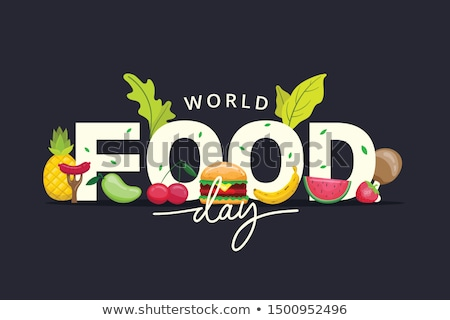 world food day card with vegetables and fruit stock photo © cienpies