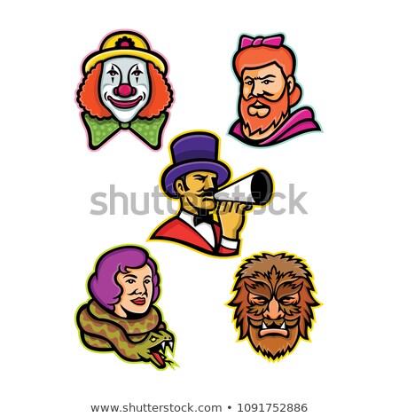Barbuto signora mascotte icona illustrazione testa Foto d'archivio © patrimonio