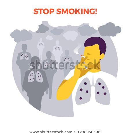 Dohányozni tilos poszter emberi sérült tüdő szalag Stock fotó © robuart