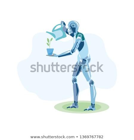 Robot segítő locsol virágok kert vektor Stock fotó © pikepicture