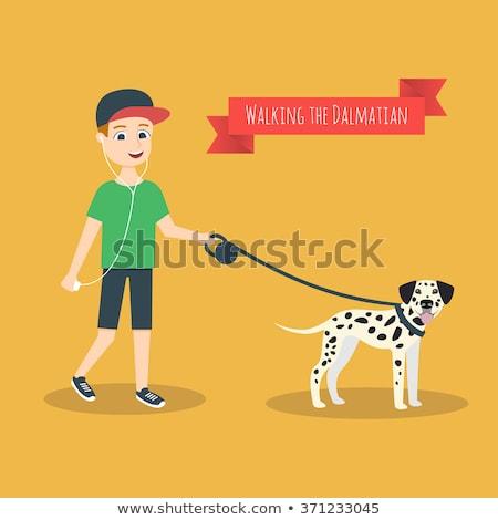 Cartoon dálmata correa ilustración caminando boca Foto stock © cthoman