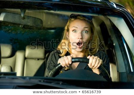 Conmocionado mujer conducción coche retrato Foto stock © AndreyPopov