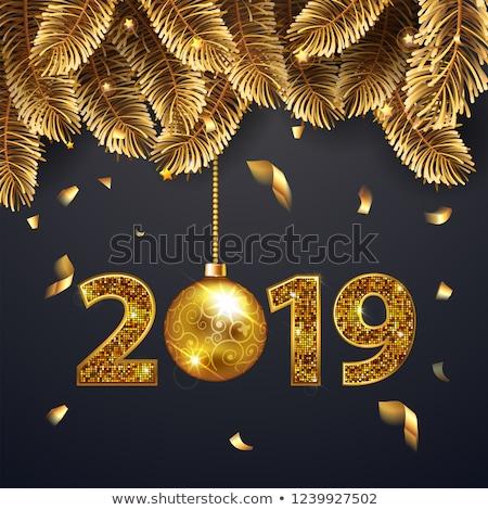 Happy new year altın sayılar dizayn tebrik kartı noel Stok fotoğraf © olehsvetiukha