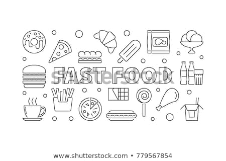 Fast food line ikona kółko Kafejka obiektów Zdjęcia stock © Anna_leni