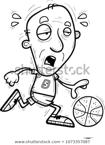 Exhausted Cartoon Senior Basketball Player Stock photo © cthoman