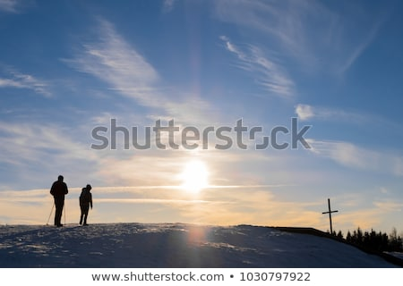 Mooie vader zoon landschap familie liefde gelukkig Stockfoto © Lopolo