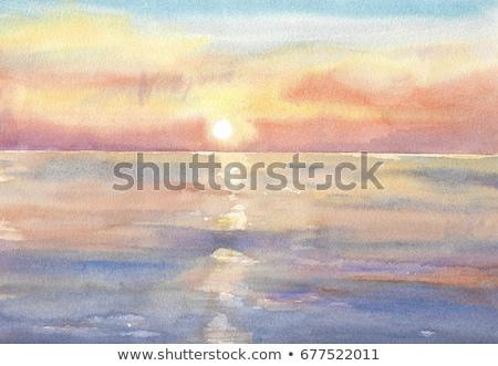 Vízfesték festmény piros rózsaszín gradiens absztrakt Stock fotó © ivo_13