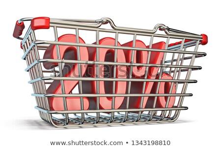Steel shopping basket 20 PERCENT sign 3D Stock photo © djmilic