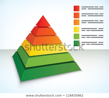 Green and Orange 3d Pyramid Icon Vector Illustration Stock photo © cidepix