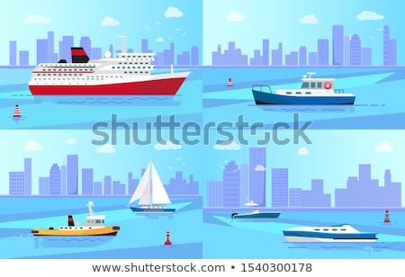 Small Steamer on Calm Water Surface near Big City Stock photo © robuart