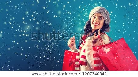 donna · sorridente · bianco · shopping · bag · lusso · Pubblicità · vendita - foto d'archivio © dolgachov