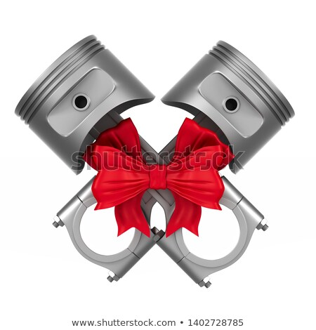 two engine pistons with bow on white background. Isolated 3d ill Stock photo © ISerg
