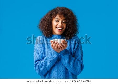 Mutlu kadın fincan çay kahve Noel Stok fotoğraf © dolgachov