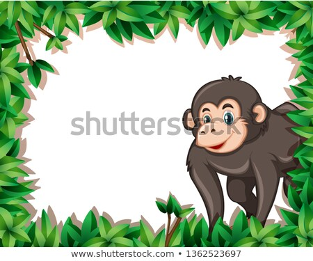 macaco · convite · ilustração · bonitinho · desenho · animado · sorrir - foto stock © bluering