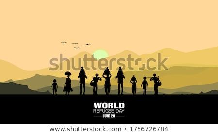Pici emberek menekült család elpusztított város Stock fotó © RAStudio