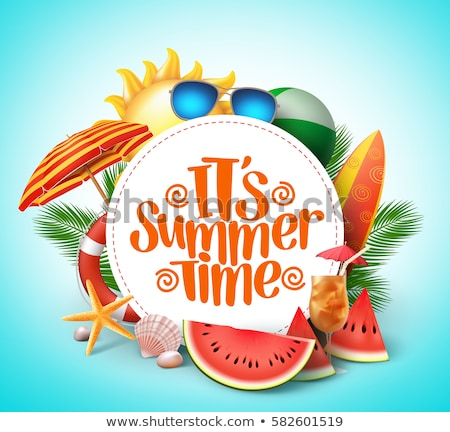 vector summer holiday illustration with typography letter and tropical leaves on yellow background stock photo © articular