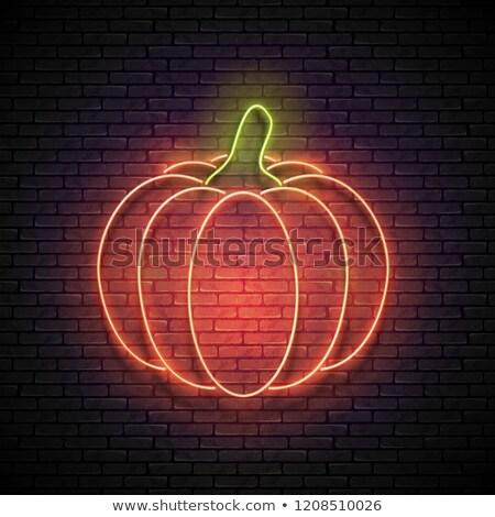 Happy Halloween Pumpkin Neon Label Stock photo © Anna_leni