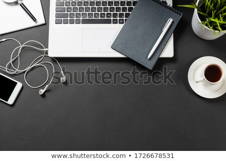 Workplace of office manager with laptop, potted plant, notebooks and books Stock photo © pressmaster