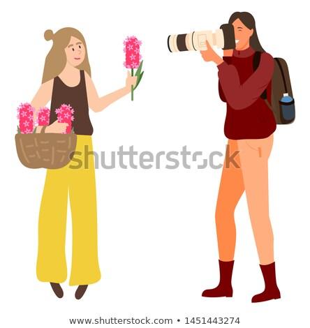 Fotó nő tart rózsaszín virág kéz kezek Stock fotó © robuart