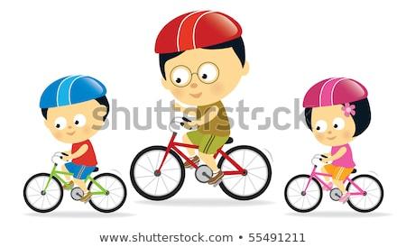 ázsiai kínai család motorozás szabadtér illusztráció Stock fotó © artisticco