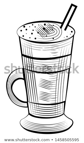 Latte Drink in Glass with Tube, Coffee Milk Sketch Stock photo © robuart