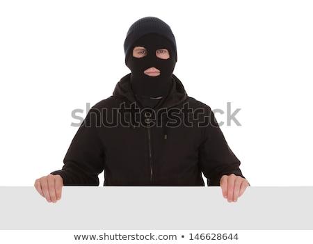 Foto stock: Criminal Wearing Mask Isolated On White