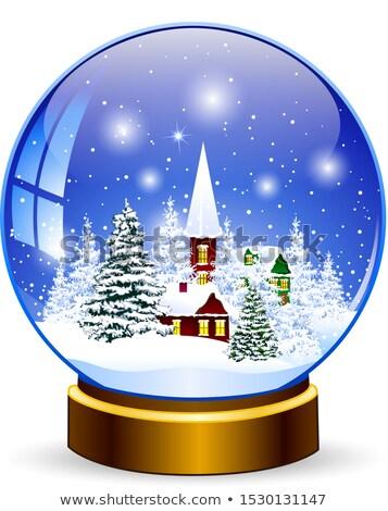 kerstmis · lege · sneeuw · wereldbol · vector · winter - stockfoto © pikepicture