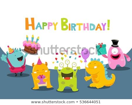 Cute potwora urodziny życzenie ilustracja Zdjęcia stock © lenm