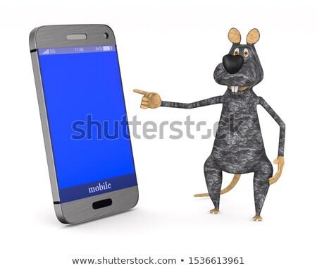 Rat telefoon witte geïsoleerd 3d illustration internet Stockfoto © ISerg