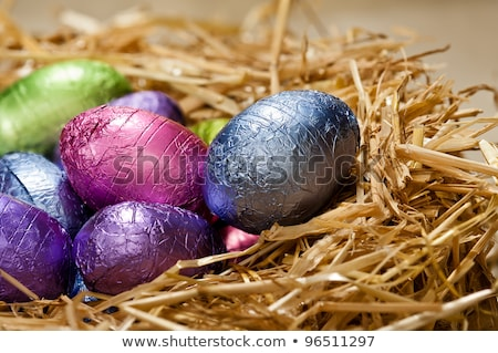 close up of easter egg candies in straw nest stock photo © dolgachov