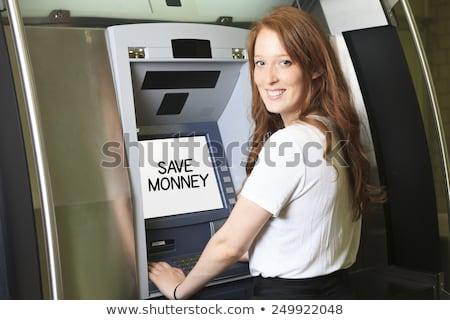 Estudante caixa eletrônico máquina escolas mulher tecnologia Foto stock © Lopolo