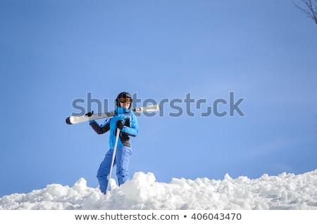 Kış spor malzemeleri dağlar buz eğlence kablo Stok fotoğraf © AndreyPopov