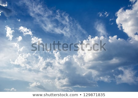 Clear blue sky with big fluffy cumulus clouds. Stock photo © artjazz
