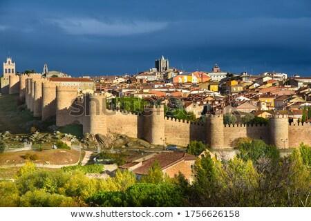 Híres város fal Spanyolország napos idő kék Stock fotó © elxeneize