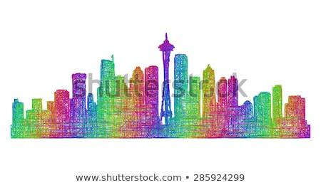 Streszczenie Seattle panoramę kolor budynków Zdjęcia stock © ShustrikS