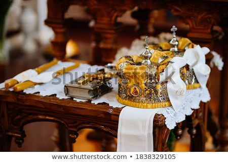 Wedding table priest with the Bible, a crown Stock photo © ruslanshramko