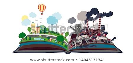 Nyitott könyv megújuló energia globális felmelegedés felirat könyv oktatás Stock fotó © ra2studio
