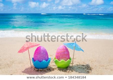Stock fotó: Húsvét · díszített · tojások · homok · tengerpart · óceán