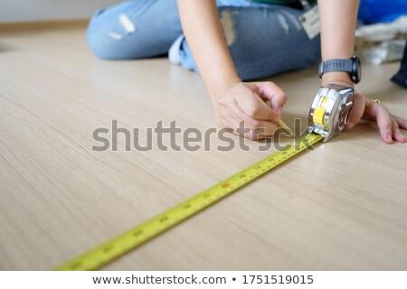 Foto stock: Feminino · trabalhador · fita · métrica · mulher · menina · mão