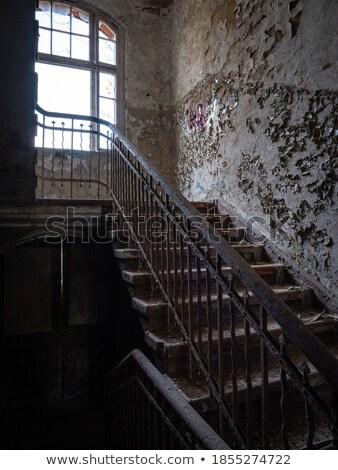 Opuszczony domu schody wyjście drzwi czarno białe Zdjęcia stock © sirylok